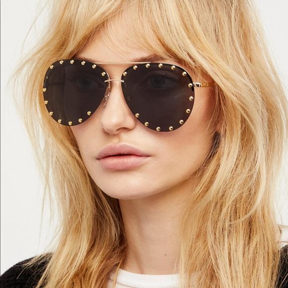 Free People Star Struck Studded Aviator Sunglasses